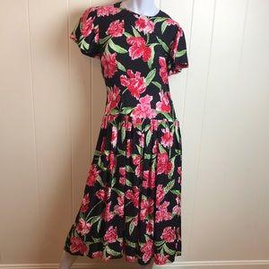 Maggie London Silk Pleated Black Dress w/ Floral
